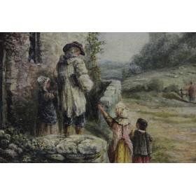Антикварная английская живопись Edward R.H. Hazledine Воскресное утро