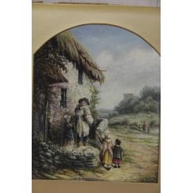 Антикварная английская живопись, купить картину  Edward R.H. Hazledine Воскресное утро