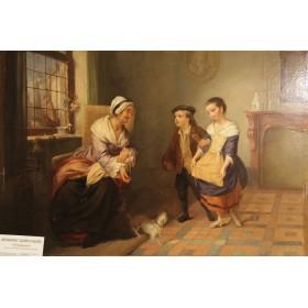 Антикварная Западно-Европейская живопись. Женщина с собачкой и дети