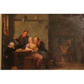"""Старинная картина """"Сцена в таверне"""",художник Александр Карс  (Alexander Carse)"""
