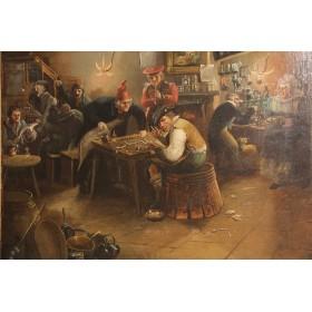 Антикварная Западно-Европейская живопись Сцена в таверне