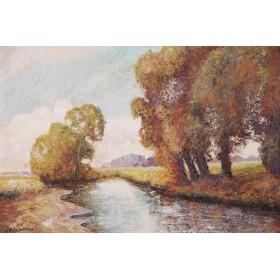 "Старинная живопись ""Осень. Гросмонт"",художник Кирилл Сэндэрс  Спэкман (Cyril Saunders Spackman)"