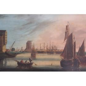 Голландский морской пейзаж Старинная картина 19 века