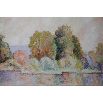 """Старинная картина""""Осень в долине Уск"""" художника Кирилл Сэндэрс Спэкман (Cyril Saunders Spackman)"""