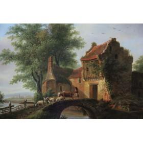 3757 Антикварная картина Картина Пейзаж с сельским домом голландский художник DeStobbeleere