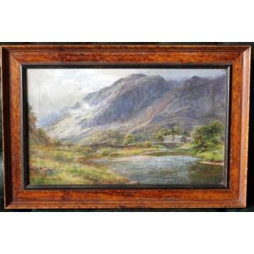 Старинная английская картина Горный пейзаж, Лакин Тернер.