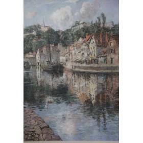 Антикварная живопись Пастель город Динан (Бельгия)