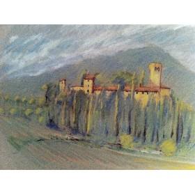 """Антикварная Пастель художника Барри Бриско (Barry Briscoe), из серии """"Рисунки Италии"""",1989 год."""