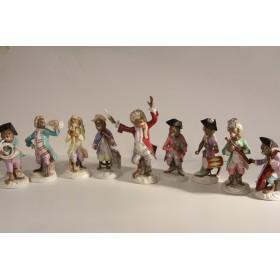 1729 Антикварные статуэтки купить Оркестр обезьянок - антикварный фарфор