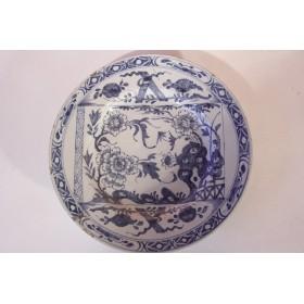 Антикварная декоративная фарфоровая тарелка Дельфт 18 век