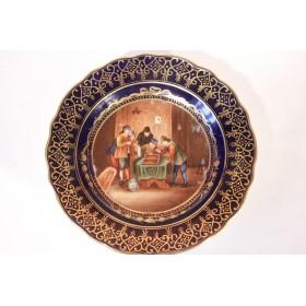 Антикварная декоративная фарфоровая тарелка Дрезден 19 век