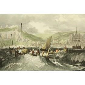 Большая английская антикварная гравюра из серии Морские пароходы