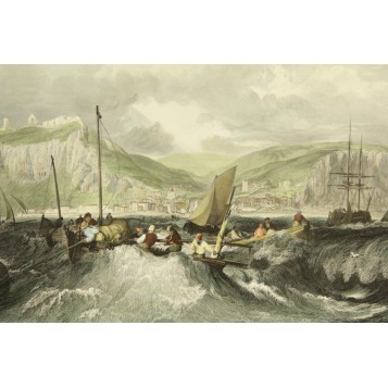 """Большая английская антикварная гравюра из серии """"Морские пароходы"""""""