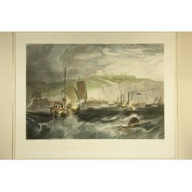 Большая викторианская антикварная гравюра из серии Морские пароходы