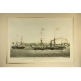 Большая старинная гравюра в подарок, купить в Москве, серия Морские пароходы