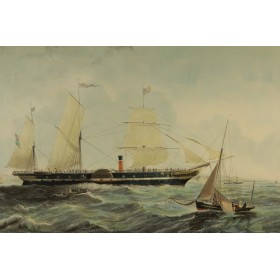 """Старинная английская гравюра в интерьер, серия """"Морские пароходы"""""""