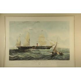 Старинная английская гравюра в интерьер, серия Морские пароходы