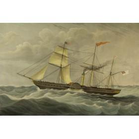 Купить викторианскую старинную гравюру в подарок Морские пароходы