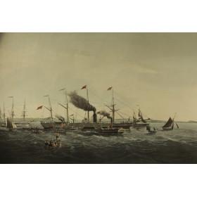 Большая гравюра из серии Морские пароходы купить в Москве