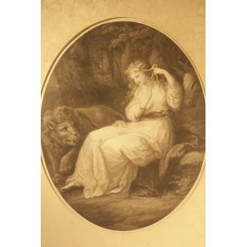"""Антикварная гравюра """"Девушка со львом"""",Англия, 1783 год."""