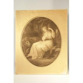 Антикварная гравюра Девушка со львом купить в подарок