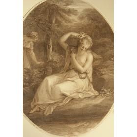 Антикварная гравюра Девушка у ручья, купить антиквариат в подарок