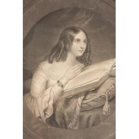 Старинная английская гравюра Девушка с книгой