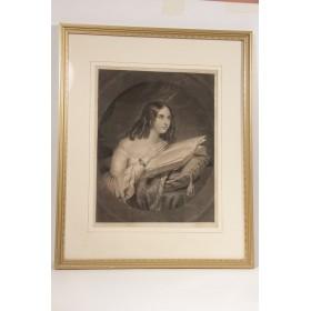Продается старинная английская гравюра Девушка с книгой
