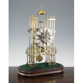 Старинные английские каминные часы Скелетон