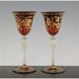 Антикварные бокалы из богемского стекла с золочением