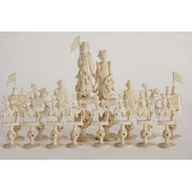 Старинные резные костяные китайские шахматы