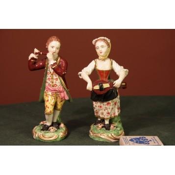 Старинные фарфоровые скульптуры музыкантов английской фабрики ДЕРБИ