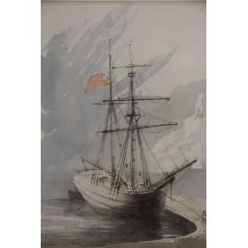 Старинная акварель художника Дж. П. Кокбурна