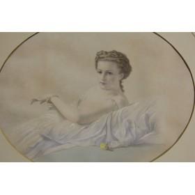 Старинная акварель Девушка в белом