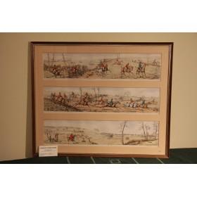 Шесть старинных гравюр на тему Охота в двух рамах