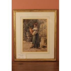 Антикварный рисунок старинная акварель Девушка с кувшином