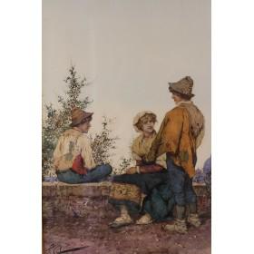 Aureli Giuseppe Парные картины - акварель