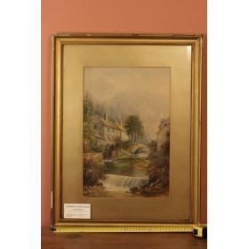 Антикварный рисунок акварелью Водяная мельница Milton Drinkwater