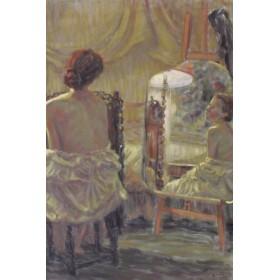 Антикварная картина портрет Натурщица у зеркала художник S. Tiffin
