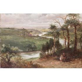 Старинная английская картина пейзаж у реки. Художник Жерард C.Gerard