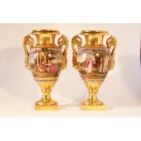 Антикварные французские фарфоровые вазы Ампир
