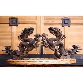 Пара драконов Хранителей из Мунского эбена, антиквариат Бирма