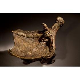 Антикварная бронзовая пепельница – визитница  «Гусиная лапка» - Algiz