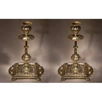 Антикварные викторианские подсвечники, старинная латунь