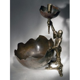 Антикварная настольная вазочка с подставкой под карандаш в виде факела