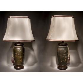 Пара антикварных настольных ламп из японских ваз эпохи MEIJI