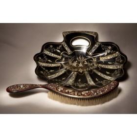 Антикварный совочек и щетка Раковина стиль шинуазри папье маше
