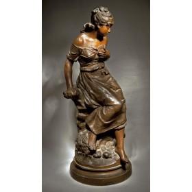 Старинная статуэтка «Девушка на скале»  Огюста Моро AUGUSTE MOREAU