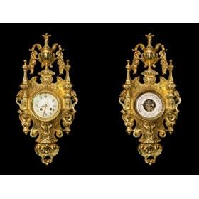 Антикварная пара французских настенных часов и барометра (картель).