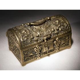 Антикварный бронзовый сундучок - fleur de lys